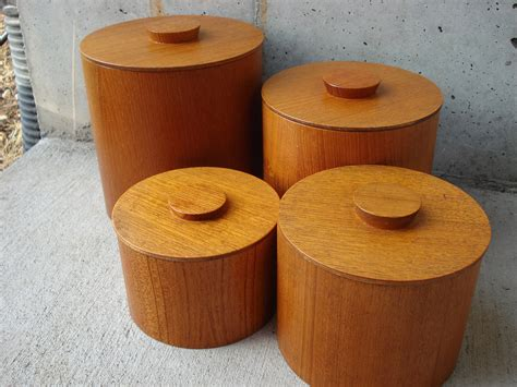 Wooden Canisters Kitchen | set of 4 all wood kitchen canister set by lkwhatthecatdraggedn