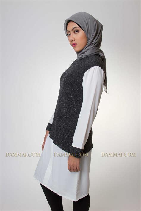 Muslim Fashion Style Grey grey white muslim fashion tunik dammai