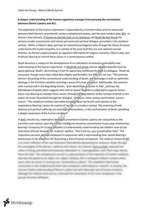 Donne Essay by Module A Essay Wit Donne Year 12 Hsc Advanced Thinkswap