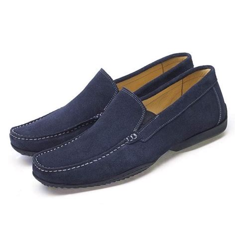 navy blue mens loafers anatomic mens moccasin loafers in navy blue suede from