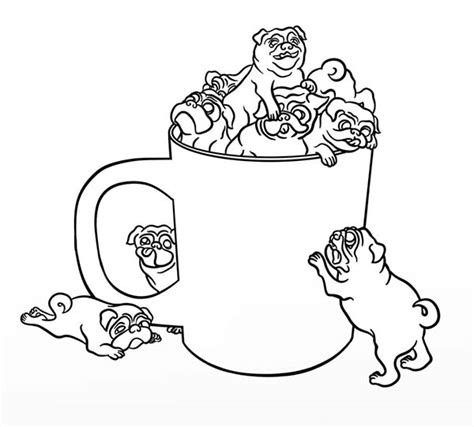 coloring pages of pugs dogs pug pug in a cup coloring page coloring 4