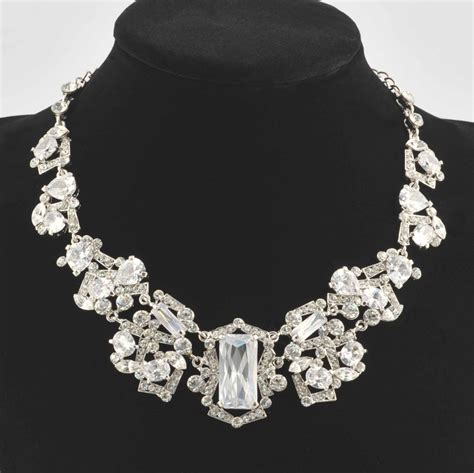 Swarovski Crystal Swarovski Large Stone Crystal Ballroom Necklace, Rhodium Plated   Necklaces