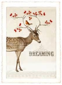 christmas deer card set winter woodland snow scene