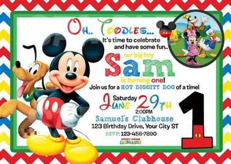 Mickey Mouse 1st Birthday Birthday Invitation For Kids Mickey Mouse Birthday Invitations Mickey Mouse Clubhouse Birthday Invitations Template