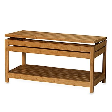 bamboo storage bench bamboo storage bench bed bath beyond