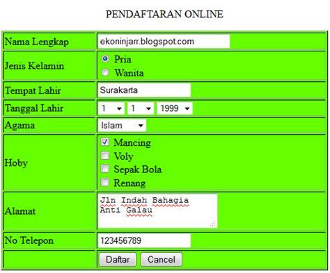 membuat aplikasi web sederhana dengan php contoh aplikasi sederhana pendaftaran online dengan php