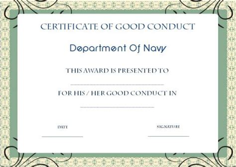 army conduct medal certificate template conduct certificate template 22 word templates for