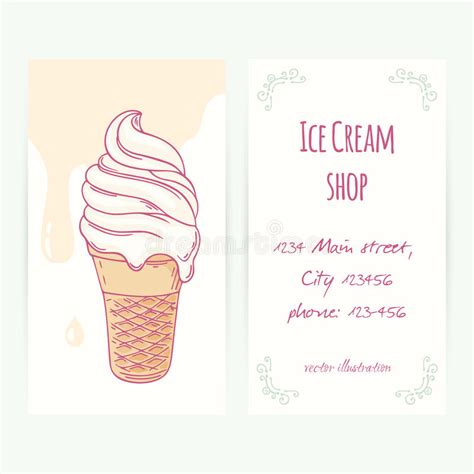 Business Card Template With Hand Drawn Ice Cream Sundae In Waffle Cone And Drops Stock Vector Snow Cone Business Plan Template