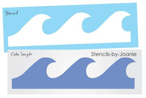 paper card wave template stencil 6 quot wave tropical bedroom wall