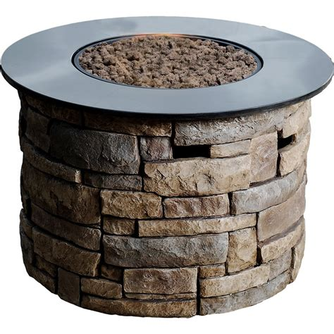backyard fire pit lowes allen roth 36 6 in canyon ridge gas fire pit table