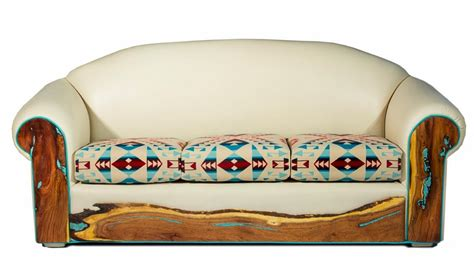 pendleton sofa turquoise inlay western leather sofa rustic artistry