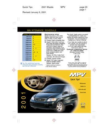 where to buy car manuals 2001 mazda mpv instrument cluster download 2001 mazda mpv quick tips pdf manual 10 pages