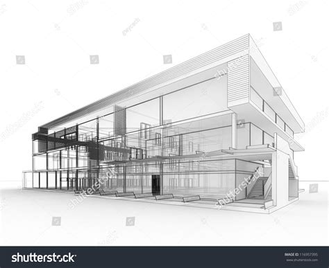 blueprint design modern office building architects stock illustration 116957395