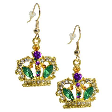 Crown Earring jeweled crown dangling earrings mardigrasoutlet