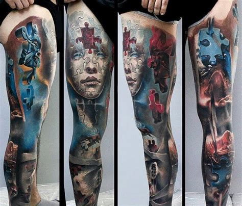 puzzle tattoo man cool multicolored puzzle like on whole leg