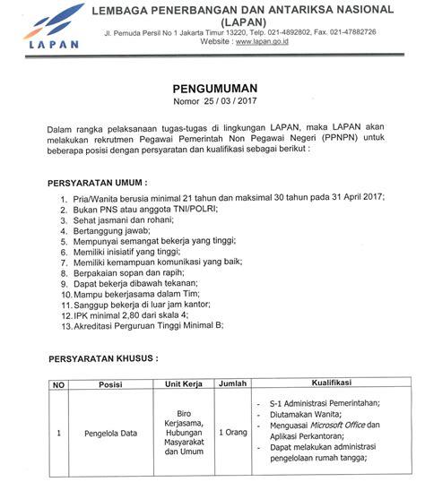 format surat pernyataan lapan rekrutmen pegawai pemerintah nonpns lapan job seeker