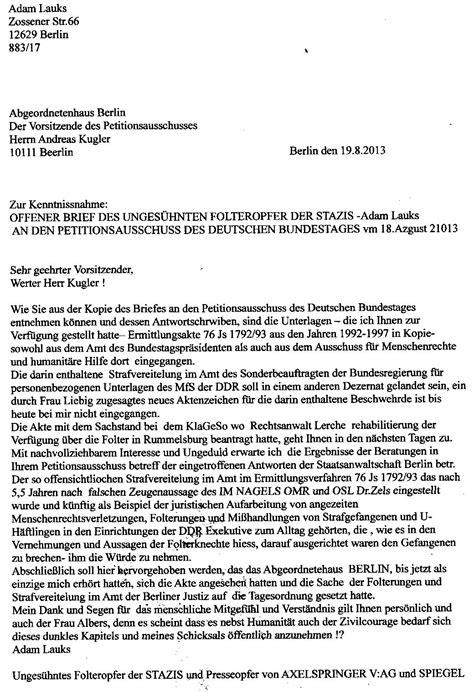 Schreiben An Staatsanwaltschaft Muster Offene Brief Antwort An Den Vorsitzenden Des Petitionausschusses Des Berliner Abgeordnetenhauses