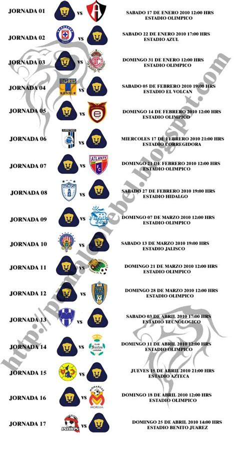 Calendario Americano Calendario Futbol Americano Pumas Unam Rabbi Gafne