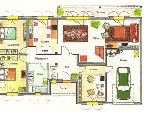 Plan De Maison Coté by Plan De Maison 2 Chalbres Avec Salle De Bain 2 Vasques