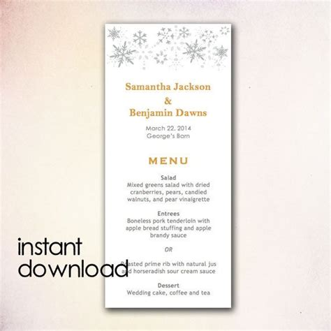 Wedding Menu Templates For Microsoft Word diy wedding menu template instant microsoft