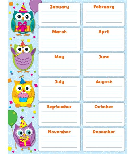 6 best images of classroom birthday chart template free