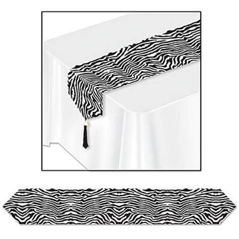 Zebra Pattern Table Runner   printed zebra print table runner partycheap