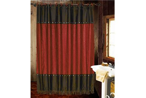 red leather curtains pungo ridge cheyenne faux tooled leather shower curtain