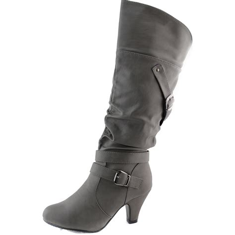 s mid calf buckle kitten heel knee high boots