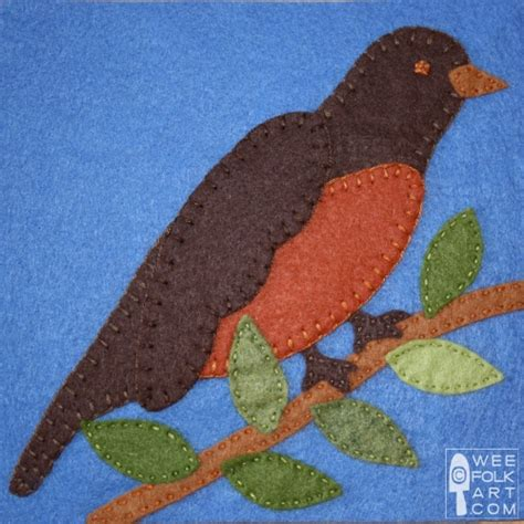 pattern for a felt robin free applique patterns 187 wee folk art