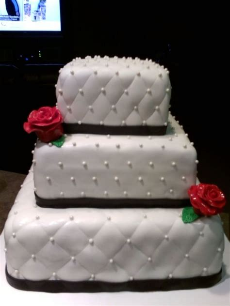 How To Quilt A Square Cake by 3 Tier White Square Wedding Cake With Quilted Pattern