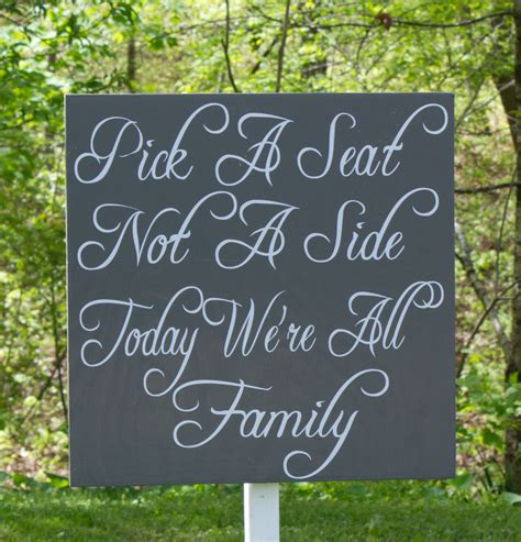 Wedding Quotes A Seat Not A Side by Large Wedding Seat Sign A Seat Not A Side Stake