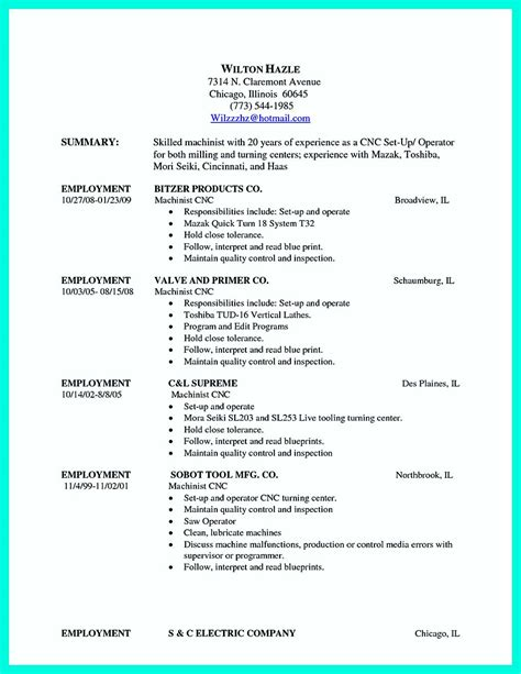 Cto Resume Example by Writing Your Qualifications In Cnc Machinist Resume A Must