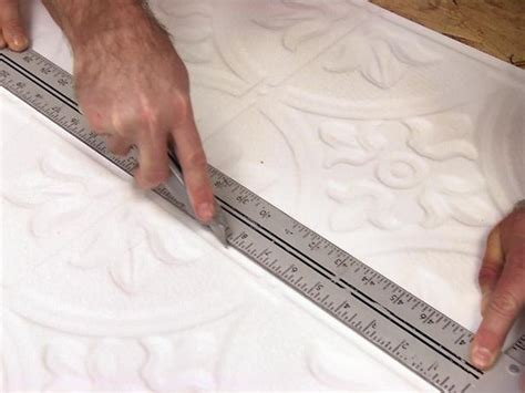 How To Cut Ceiling Tiles by How To Install A Tin Tile Ceiling How Tos Diy