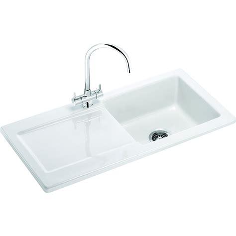 B Q White Kitchen Sinks by Franke Livorno 1 Bowl White Gloss Ceramic Kitchen Sink