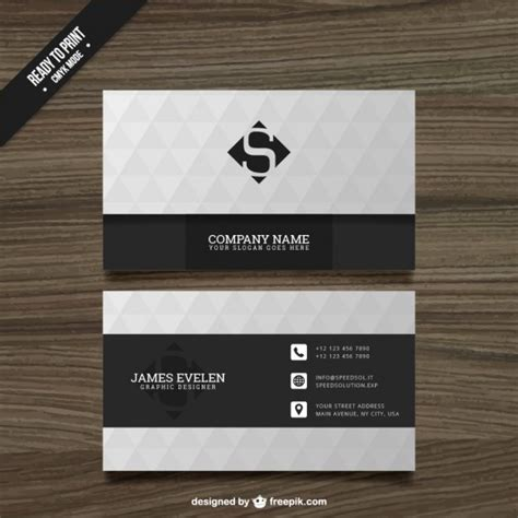 white and black business card vector free download
