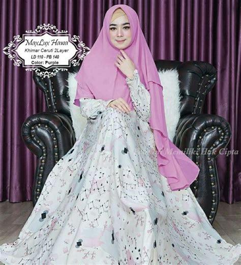 Abstrak Syari Khimar baju muslim maxlux hawa syari model gamis maxmara dewasa