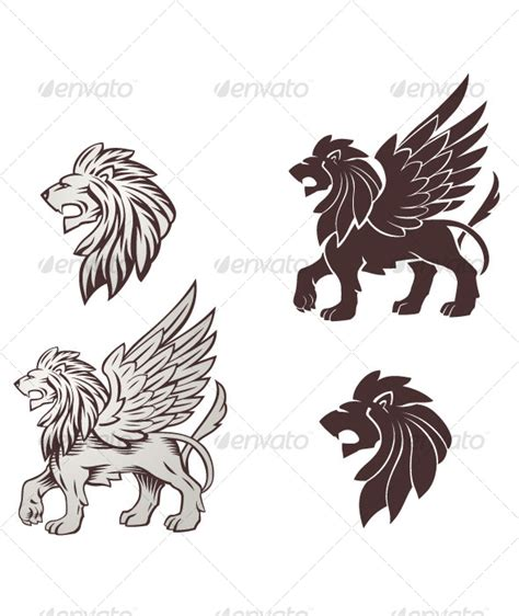 lion with wings tattoo winged illustration by abrams graphicriver