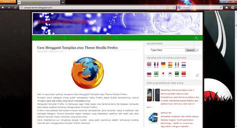 themes untuk mozilla cara mengganti tilan atau theme mozilla firefox