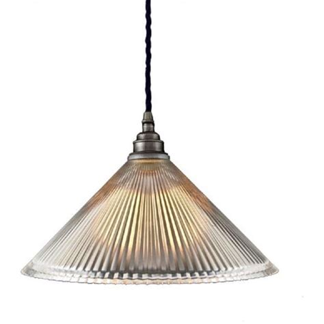 Glass Ceiling Lights Uk Ceiling Pendant Light With Coolie Ribbed Glass Shade On Braided Cable