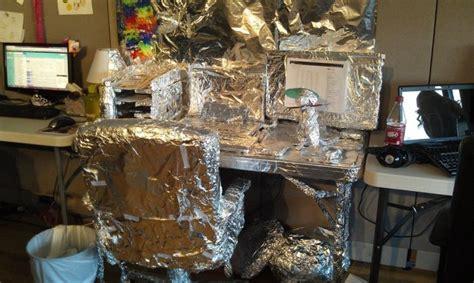 classic aluminum foil desk wrap prank 8 pics