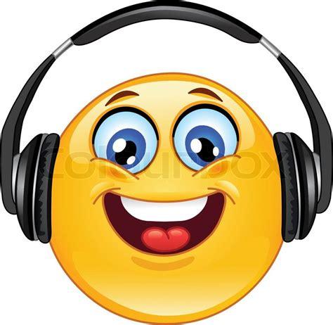 Earphone Headset Karakter Box emoticon med hovedtelefoner stock vektor colourbox