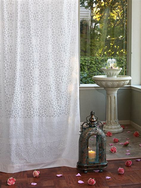 Moroccan Sheer Curtains White Sheer Curtain Panel Moroccan Curtain Lattice