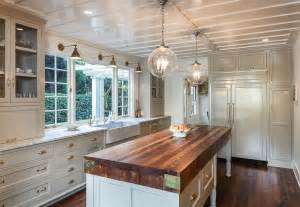 Shiplap Lumber Cottage Kitchen With Farmhouse Sink Amp Wood Counters In