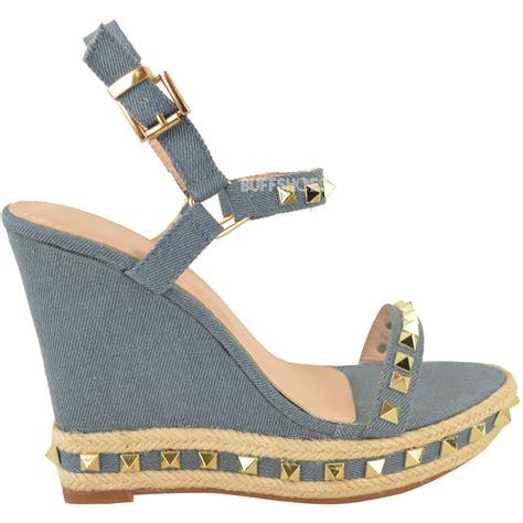 womens high heel wedges womens studded espadrille wedge high heel sandals