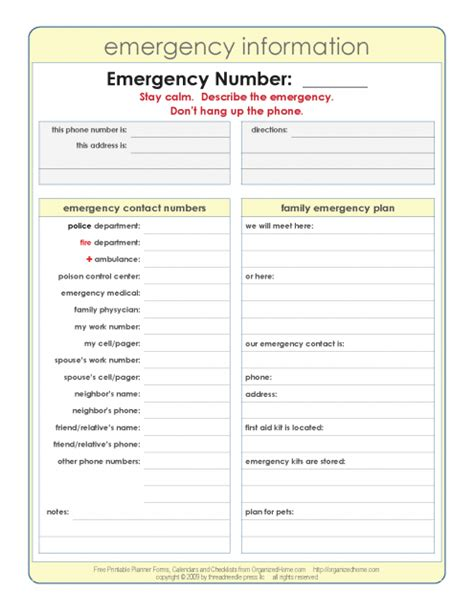 important numbers template emergency information list i a list like this in my