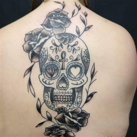 skull back tattoos 125 best sugar skull designs meaning 2018
