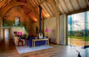 structural glazing in barn conversion contemporary barn