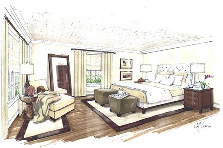 bedroom interior design sketches interior design process bedroom colored sketch concept