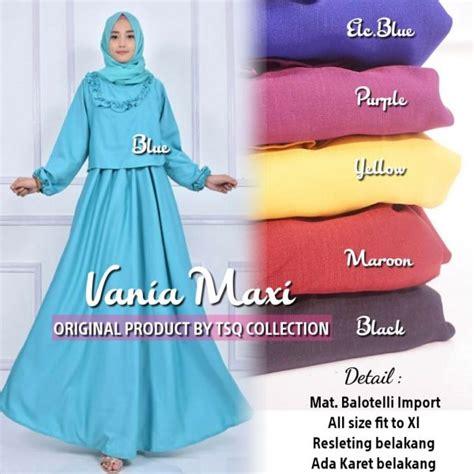 Syari Purple Yellow gamis modern vania maxi baloteli baju muslim polos