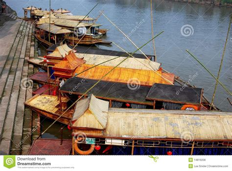 green river flat bottom boat huang long xi china flat bottom river boats editorial